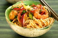 Impress your dinner guests with this exotic and tasty recipe. Learn how to make rice noodles with prawns and view hundreds of other recipes at Tesco Real Food today! Shrimp And Rice Recipes, Prawn Recipes, Noodle Recipes, Seafood Recipes, Cooking Recipes, Healthy Recipes, Fish Recipes, Asian Recipes, Savoury Recipes