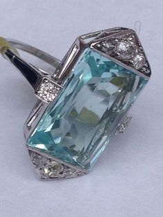 Art Deco Aquamarine & Diamond Ring by Makia55