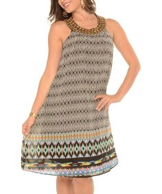 Love this Black Geometric Yoke Dress - Plus by Shoreline on #zulily! #zulilyfinds