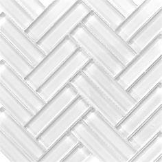 Like herringbone style Subway tile in Cloud white modern weave pattern for kitchen backsplash or bathroom tile ideas Glass Subway Tile, Glass Tiles, Kitchen Dinning Room, Shower Niche, Herringbone Tile, Bathroom Renos, Bathroom Ideas, Stone Flooring, Tile Design