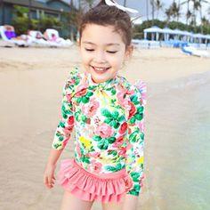 été costume fille maillot de bain bébé floral de natation enfants de maillots de bain une pièce