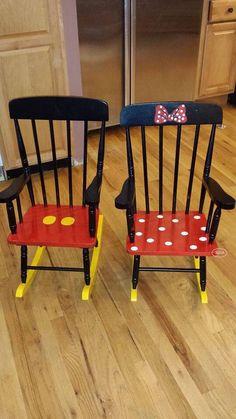 Matching Minnie And Mickey Rocking Chairs.