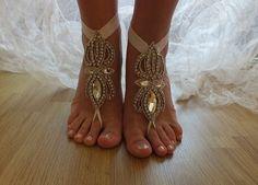 rhinestone beach wedding barefoot sandals,