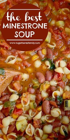 The Best Minestrone Soup & Soup Recipe & Healthy Recipe & This is honestly the best Minestrone Soup! A vegetable broth tomato base and then loaded with fresh vegetables, beans, and tender small shell pasta. Best Soup Recipes, Vegetarian Recipes, Cooking Recipes, Healthy Recipes, Stew Meat Recipes, Healthy Soups, Dinner Recipes, Crock Pot Soup Recipes, Dinner Soups