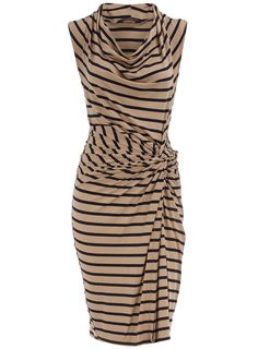 Need this. Stripe jersey dress with front twist detail on the waist and a cowl neck. Wearing length 99cms. 95 viscose, 5 elastane. Machine washable.