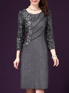 Long Sleeve Beaded Elegant Sheath Dress 5b1fa93bdd