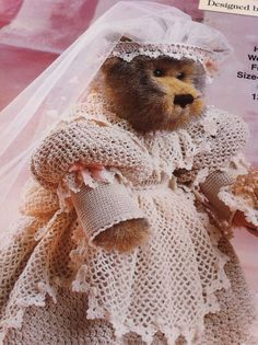 crochet bridal bear wedding dress pattern the needlecraft shop pattern booklet 991034