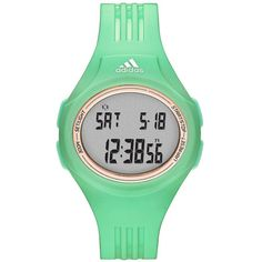 Adidas Uraha Update Polyurethane Watch ($50) ❤ liked on Polyvore featuring jewelry, watches, green, green watches, bezel watches, buckle jewelry, adidas watches and digital watches