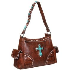 Nocona Blazin Roxx Turquoise Cross Shoulder Bag ($69) found on Polyvore