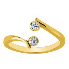 Yellow Gold Double Solitaire With CZ By Pass Style Adjustable Toe Ring - JewelryAffairs - 1 Double Solitaire, Gold Solitaire Ring, Simulated Diamond Rings, 14k Gold Ring, Gold Toe Rings, White Gold Rings, Fashion Rings, Fashion Jewelry, Beaded Anklets