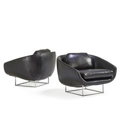 Milo Baughman; Chromed Steel and Leather Lounge Chairs for Thayer Coggin, 1970s.