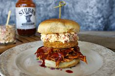 BBQ Chicken Sandwich with Fried Green Tomato and Stubb's BBQ sauce