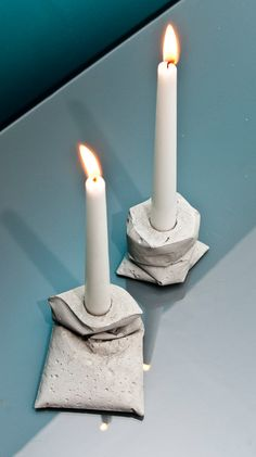 LJ κ two candle holders made of concrete by LJLamps on Etsy