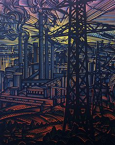 Haiduk, Victor - Industrial landscape Industrial Artwork, Industrial Paintings, Linocut Prints, Woodblock Print, Color Theory, Aesthetic Art, Wood Print, Landscape Art, Digital Illustration