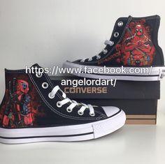 f221c85238cab3 Custom painted Deadpool Converse hi tops shoes sneakers  Facebook.com angelordart  Converse Hi