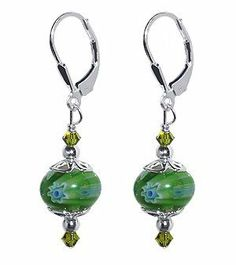 SCER055 Sterling Silver Green 10mm Donut Shape Millefiori Glass Bead Crystal Earrings Made with Swarovski Elements: http://www.amazon.com/Sterling-Millefiori-Earrings-Swarovski-Elements/dp/B000BC8RYI/?tag=utilis-20