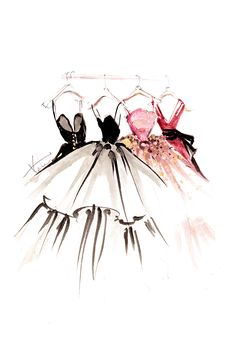 Rack of exquisite dresses, illustrated by Paper Fashion.