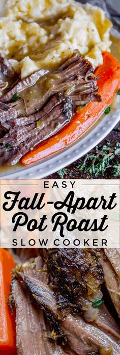 Easy Fall-Apart Pot Roast with Carrots (Slow Cooker) from The Food Charlatan. Super tender, juicy, fall-apart crock pot roast is not as hard as you think! This slow cooker recipe uses a few simple ingredients (one of them is patience) to make the most flavorful pot roast ever! #potroast #slowcooker #crockpot #roast #chuckroast #tender #juicy Carrots Slow Cooker, Slow Cooker Roast Beef, Roast Beef Recipes, Meat Recipes, Slow Cooker Recipes, Cooking Recipes, Roast In Crockpot, Best Pot Roast Recipe Slow Cooker, Crock Pot Rib Roast Recipe
