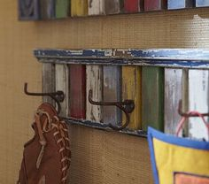 Love the rustic look of the  Multi-Colored Hook Rack on potterybarnkids.com. I think I can make this with the help of Poppaw or Pa.