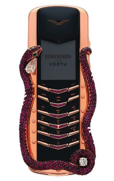 Vertu is now taking orders for the Signature Cobra which is designed by French jeweler Boucheron, The Cobra will feature one pear-cut diamond, one round white diamond, two emerald eyes and 439 rubies.