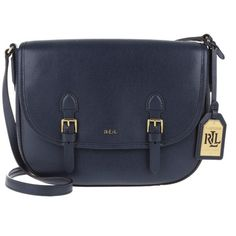 Lauren Ralph Lauren Messenger Crossbody Leather Bag Navy/Cocoa in... ($190) ❤ liked on Polyvore featuring bags, handbags, shoulder bags, blue, blue leather handbags, leather crossbody purses, purse crossbody, leather shoulder bag and leather hand bags