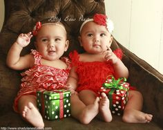 0c3c8760ab8 Christmas Red Lace Petti Romper SET Matching Holiday Flower Headband-Baby  Girl Twin Outfit-