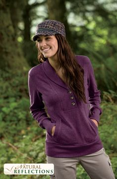 Chilly fall nights call for a warm pullover and cute textured hat. #NaturalReflections #basspro #falloutfits
