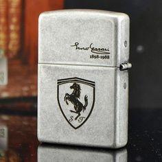 Japanese Antique Silver Ferrari Zippo Lighter
