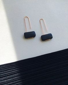 MARCEL earrings - matte black onyx and rose gold