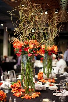 Orange Wedding centerpiece floral arrangement idea