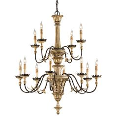 The noble adornments and tasteful old world styling of the Adara Chandelier make it a distinctive and dignified piece. A harmonious trio of finishes: Ivory Brown, Sicilian Gold Leaf, and Rust. #TDN #ShopTDN #TheDesignNetwork