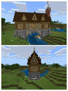 A house over a river, my first build on the Switch. : Minecraft A house over a river, my first build on the Switch. Casa Medieval Minecraft, Art Minecraft, Minecraft Building Guide, Minecraft Structures, Minecraft Plans, Amazing Minecraft, Minecraft House Designs, Minecraft Survival, Minecraft Tutorial