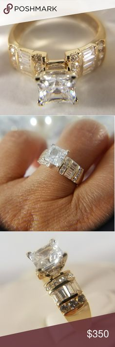 14k Solid Yellow Gold Engagement Ring With 2ct princess cut man made Diamond Center stone  Available in sizes 5 6 7 8 9 10 Jewelry Rings