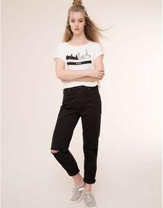 Pull&Bear - mujer - camisetas y tops - camiseta flock paris - hielo - 09243308-I2015
