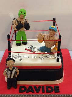 Wrestling cake Wwe Birthday, 70th Birthday Parties, Birthday Cakes, Boy Cakes, Cakes For Boys, Wrestling Cake, Wwe Party, Fondant Decorations, Fondant Figures