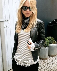 Pernille Teisbaek // Quilted leather, classic Ray-Bans, and a black bandana