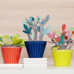 Cool Idea: Whimsical Paper Plants - bright plants for the classroom that I'm literally unable to kill! Winner!