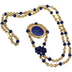 View this item and discover similar for sale at - A highly elegant and unique Piaget necklace watch in yellow gold with blue Lapis Lazuli beads and fitted dial. Jewelery, Jewelry Necklaces, Long Necklaces, Lapis Lazuli Jewelry, Watch Necklace, Blue Zircon, High Jewelry, Antique Jewelry, Jewelry Watches