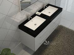 Meuble de salle de bain en bois avec double vasques coloris blanc Réf: B-1360-B