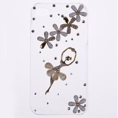 1pc Luxury Crystal daisy Ballet Girl Cell Phone Case Cover For Apple iphone4 4s