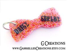 Pink Bow Dog Tag  Cute Candy Sprinkles Bow by GabriellesCreations