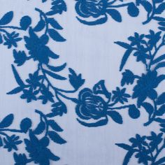 Brite Blue Floral Cotton Embroidered Lace on Nylon Netting Fabric by the Yard   Mood Fabrics
