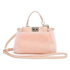 Fendi Peekaboo Micro Shearling Satchel (6.050 BRL) ❤ liked on Polyvore featuring bags, handbags, light rose, satchels, man satchel bag, hand bags, man bag, fendi bags and shearling purse