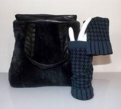 Handtasche - OktoberWelle - Felltasche mit gestrickten Stulpen - ein Designerstück von ilsensodella bei DaWanda
