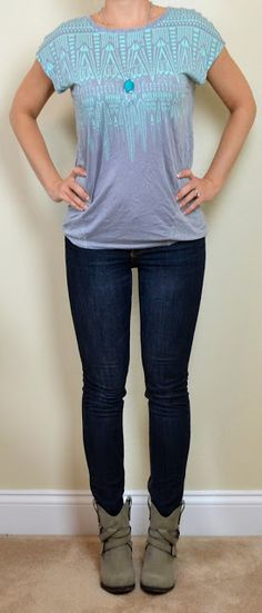 outfit post: mint santa fe tee, skinny jeans, ankle boots | Outfit Posts Dynamic