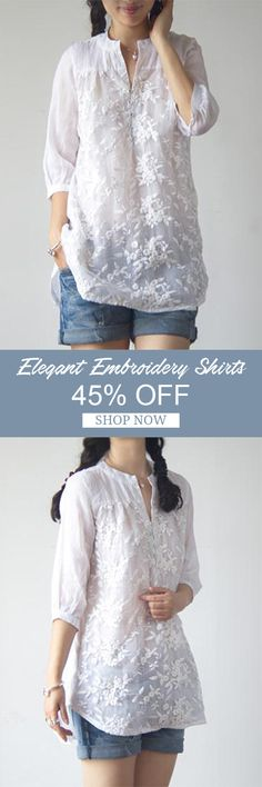 [Newchic Online Shopping] 45%OFF Elegant Women Solid Color Embroidery Organza Shirts