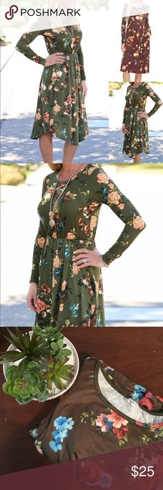 NWOT Boutique Olive Floral Midi Dress NWOT Boutique Olive Floral Midi Dress. Never even tried on! Sized as a large but in my opinion is more of a medium. Super cute dress! Rounded hemline so the sides do go up a bit. Length at longest (shoulder to hemline) is 37 3/4 in Long and at shortest is 35 1/4 in long. Bust: 18 1/4 in, Waist is elastic and unstretched measurements are at 13 1/2 in and stretched at 20 1/2 in. Smoke free and pet free homes always open to offers and bundling Dresses Midi
