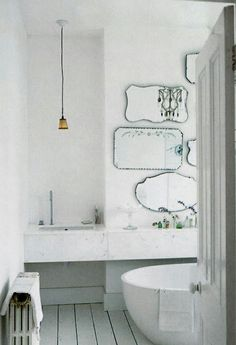 I like the different-shaped mirrors