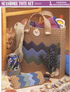 images of plastic canvas tote bag patterns   Seashore Tote Bag Set Plastic Canvas by needlecraftsupershop Sorry no pattern available, this is for inspiration only