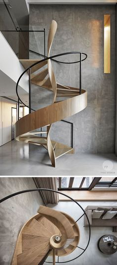 This artistic wood spiral staircase doubles as a sculptural installation that can be enjoyed and appreciated from many parts of the modern house.